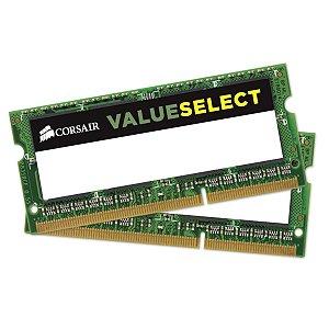MEMÓRIA CORSAIR 8GB (2 x 4GB) DDR3 1600MHz VALUESELECT NOTEBOOK - CMSO8GX3M2C1600C11