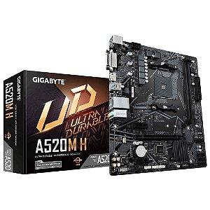 PLACA MÃE GIGABYTE A520M H, CHIPSET A520, AMD AM4, MATX, DDR4