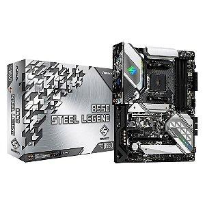 PLACA-MÃE ASROCK B550 STEEL LEGEND, AMD AM4, ATX, DDR4