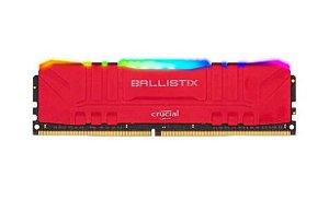 MEMORIA CRUCIAL BALLISTIX RGB, PC, 8GB, DDR4, 3000MHZ, VERMELHA - BL8G30C15U4RL
