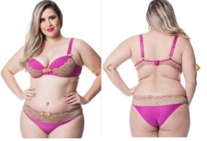 Conjunto Dama Inveja Pink com Renda Chocolate - Ref. 132705
