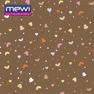 FELTRO ESTAMPADO MEWI - Coleção Confete MARROM - 35x35cm