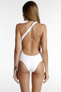 03761b2b0 Maiô Um Ombro Só - Liso Branco - Mohit Swimwear