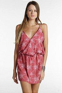 Vestido Transpassado - Estampa Algas em Flor
