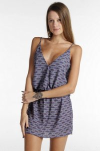 Vestido Transpassado - Estampa Corais Azul