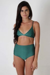 Top Fixo Bells e Hot Pants Canggu - Liso Verde