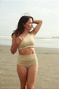 Top Um Ombro Só - Hot Pants - Lurex Dourado