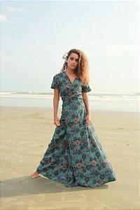 Vestido Transpasse - Estampa Mandala Turquesa
