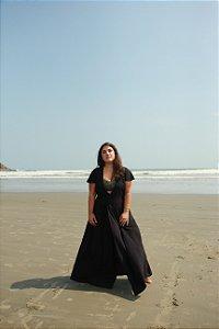 Vestido Transpasse - Liso Preto