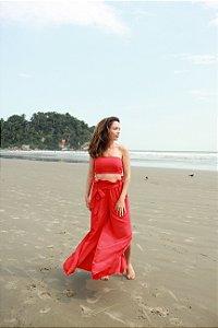 Calça Pantalona - Top Viscose - Lisa Vermelha