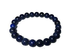 Pulseira De Pedra Bolinha Lapis Lazuli Azul 8mm