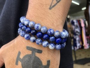 Pulseira Masculina Pedra Azul 8mm 3 X Sodalita Lapis Lazuli