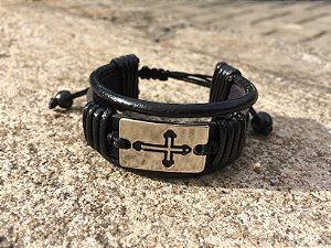 Bracelete Placa Crucifixo Regulável