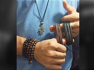 Colar Masculino/Fem E pulseira de Couro 30 Peças Atacado