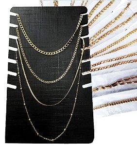 Corrente Dourada aço inox Kit 10 Peças Atacado Dourado