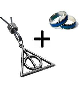 Colar Harry Potter + 10 Anel Do Humor Que Muda De Cor