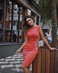 Vestido Viscolycra Pregas Coral