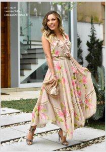 Vestido Chiffon Floral Detalhes