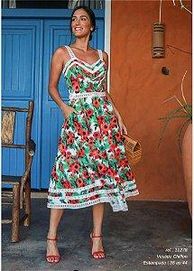 Vestido Chiffon Floral Rendas