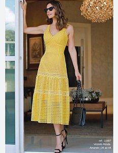 Vestido Renda Midi Amarelo