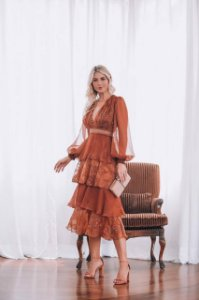 Vestido Midi Organza Bordada