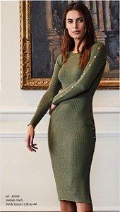 Vestido Tricot Canelado Verde Militar