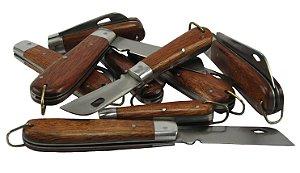 Canivete Lâmina Vazada Aço Carbono Cabo Madeira Lote 5 Peças