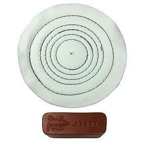 Kit Para Polir Ouro Prata Pasta Rouge Roda De Algodão 15 Cm