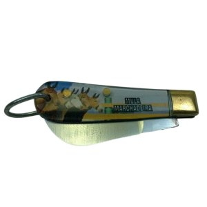 Canivete Chaveiro Cabo Acrílico Com Gravura Inox Sem Ponta