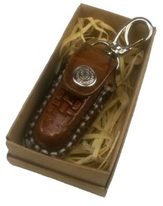 Canivete Para Presente Chaveiro Com Bainha Inox Cabo Madeira