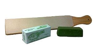 Strop De Couro Dupla Face Com Pasta De Polir Verde Jacare