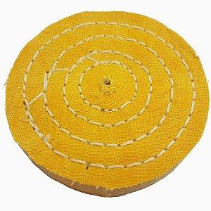 Roda De Pano Disco Para Polir E Lustrar Algodão Amarela 15 Cm