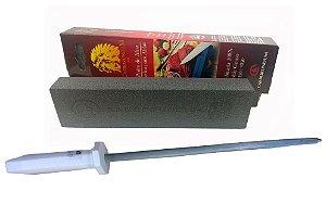 Afiador De Facas Kit Duo320 Com Pedra De Amolar 320 E Chaira