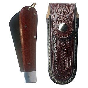 Canivete Extra Grande Aço Inox Com Bainha De Couro Zebu