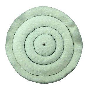 Roda de Flanela Branca de Pano Para Polimento Tamanho 7,5 Cm