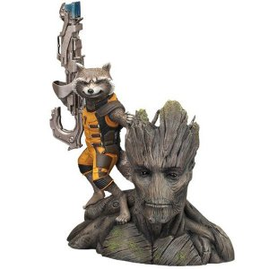 Estátua Groot e Rocket Raccoon - Guardiões da Galáxia 2