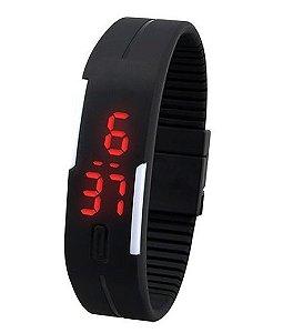 Relógio Bracelete de Silicone Led - Preto