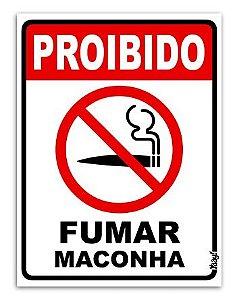 Placa Divertida - Proibido Fumar Maconha