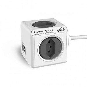 Adaptador Múltiplo para 4 Tomadas Bivolt + 2 USB 2.4A com Cabo 1,5m - PowerCube EXTENDED USB - PWC-X4U