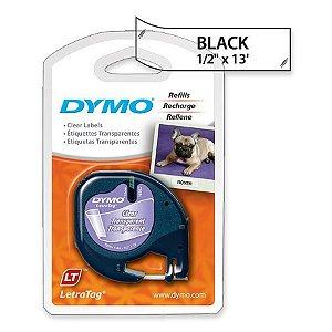 Fita DYMO 16952 (Preto/Transparente c/ 12mm x 4mts)