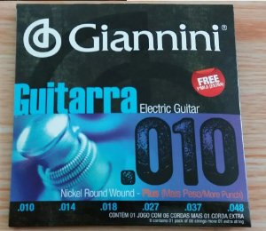 Encordoamento Para Guitarra Giannini Plus 010 (+1 Mi Extra)
