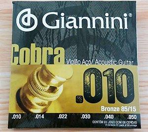 Encordoamento Para Violão Aço Giannini Cobra 010 85/15