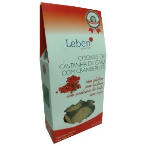 Cookies de Castanha de Caju com Cranberries Sem Glúten Leben 100g (Validade: 17/10/2017)