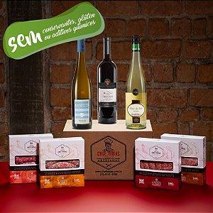 Kit Degustação linguiças e vinhos de pequena produção