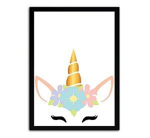Poster com Moldura - Quarto Infantil Unicórnio