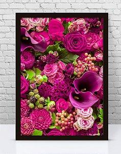 Poster Com Moldura - Flores Tons De Rosa