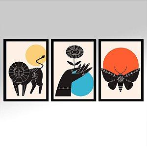 Kit 03 Quadros Decorativos - Trio Traços Minimalista