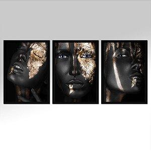 Kit 03 Quadros Decorativos - Trio Black E Dourado