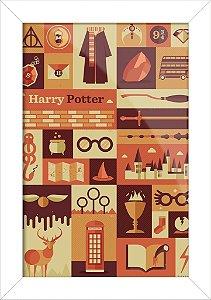 Poster com Moldura - Harry Potter Silhouett