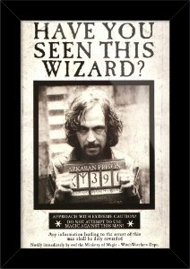 Poster com Moldura - Wanted Sirius Black Harry Potter